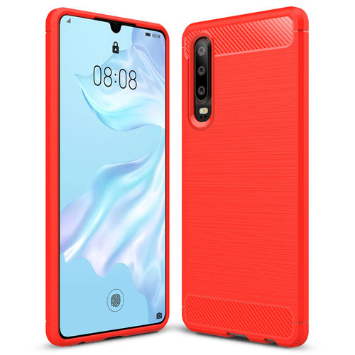Flexi Carbon Fibre Tough Case for Huawei P30 - Brushed Red
